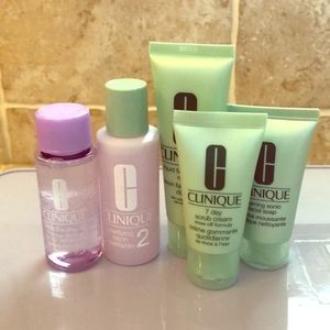 Set of Clinique travel size products;lotion & soap